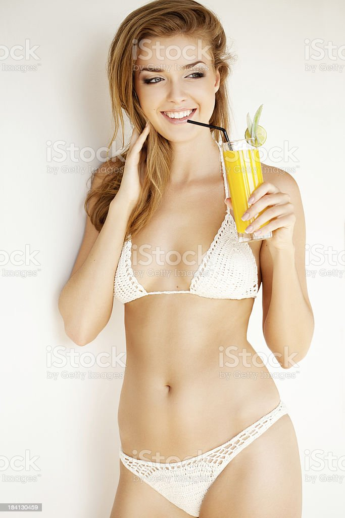 Beautiful woman with orange juice royalty-free stock photo