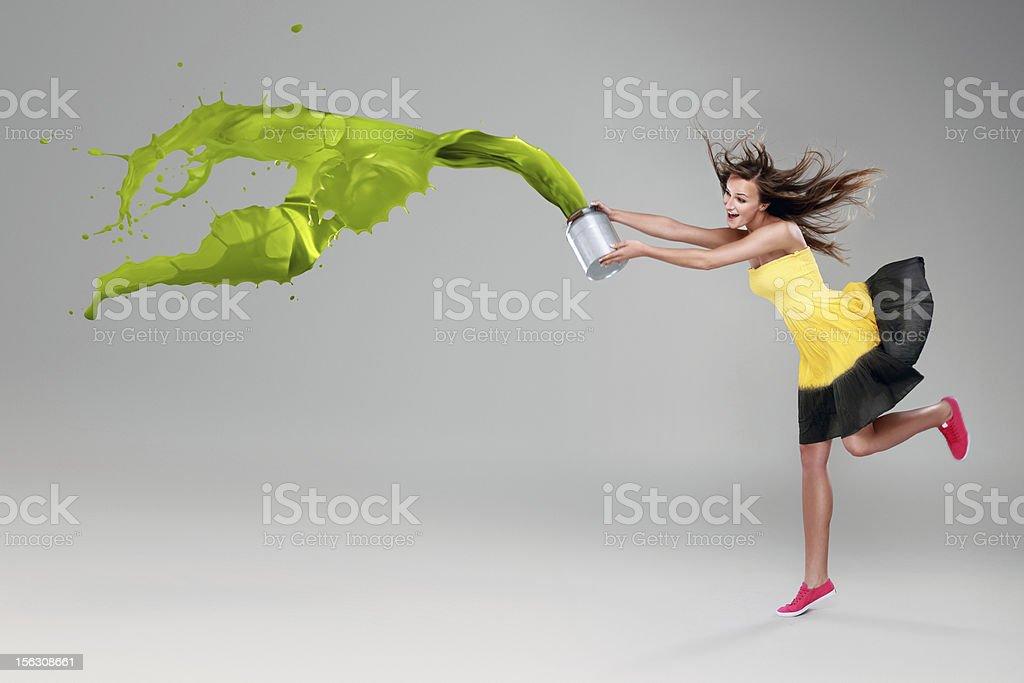 Beautiful woman with paint splash stock photo