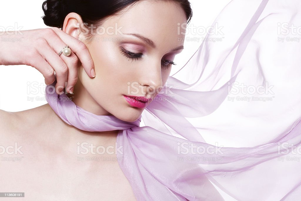 Beautiful woman with pearl ring stock photo