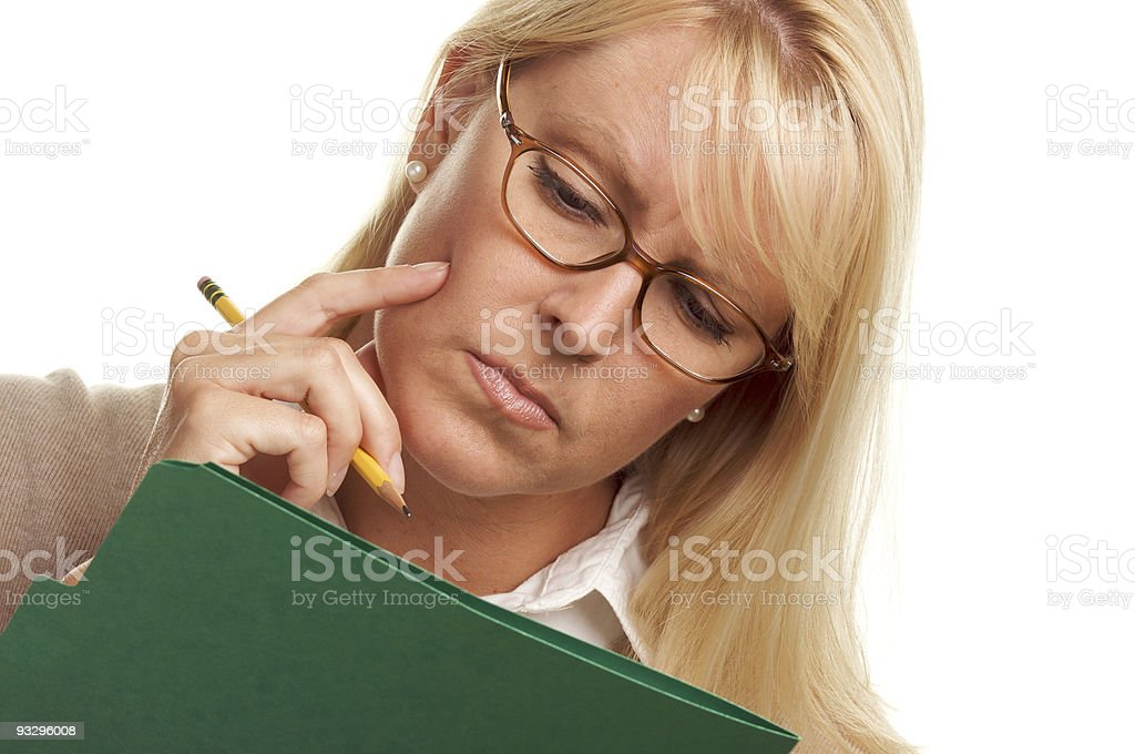 Beautiful Woman with Pencil and Folder royalty-free stock photo