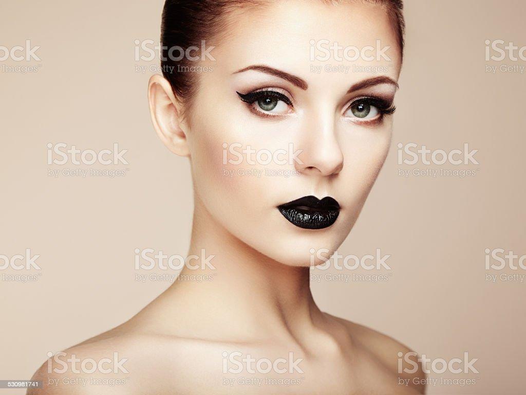 Beautiful woman with perfect makeup. Beauty portrait stock photo