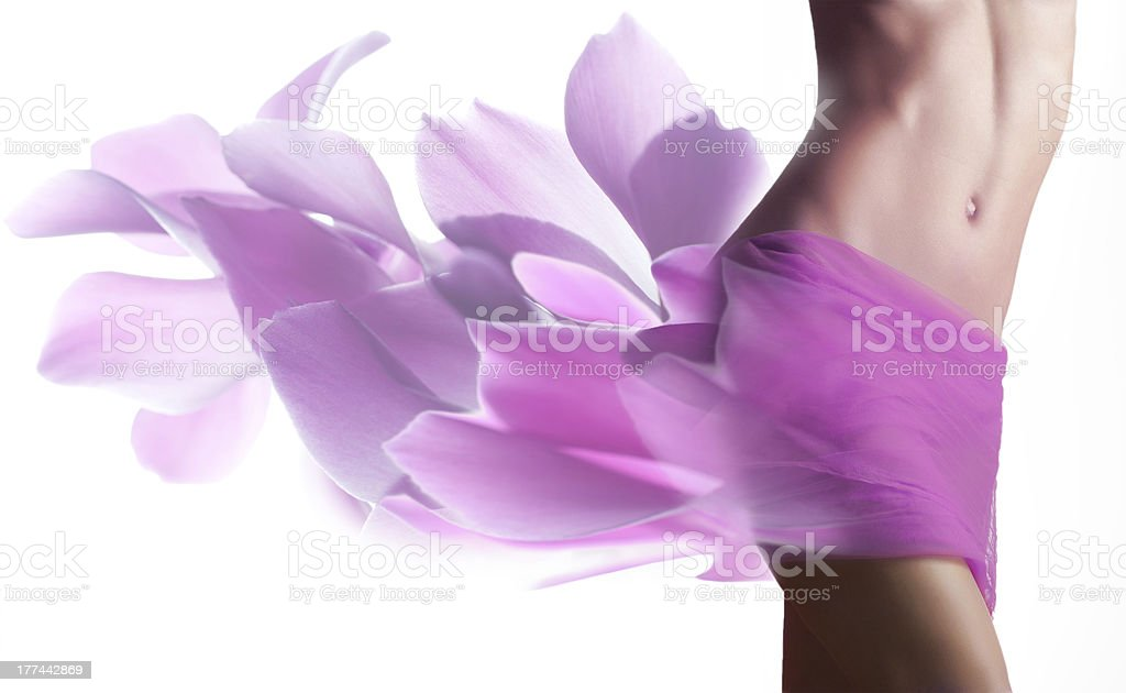 Beautiful woman with petals  on her hips stock photo