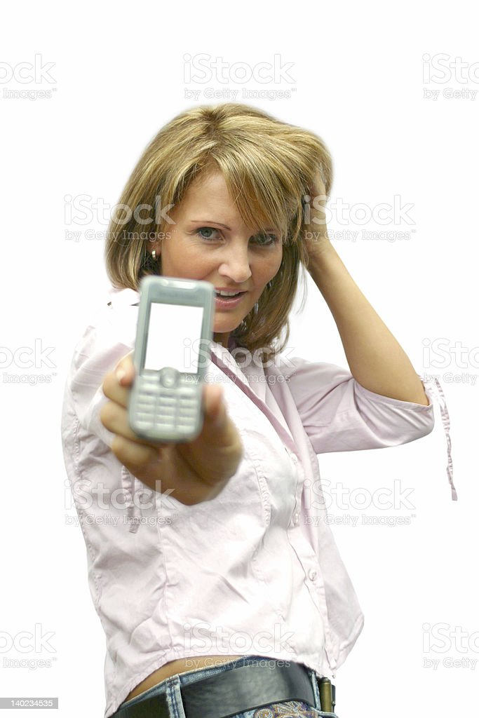Beautiful Woman with phone royalty-free stock photo