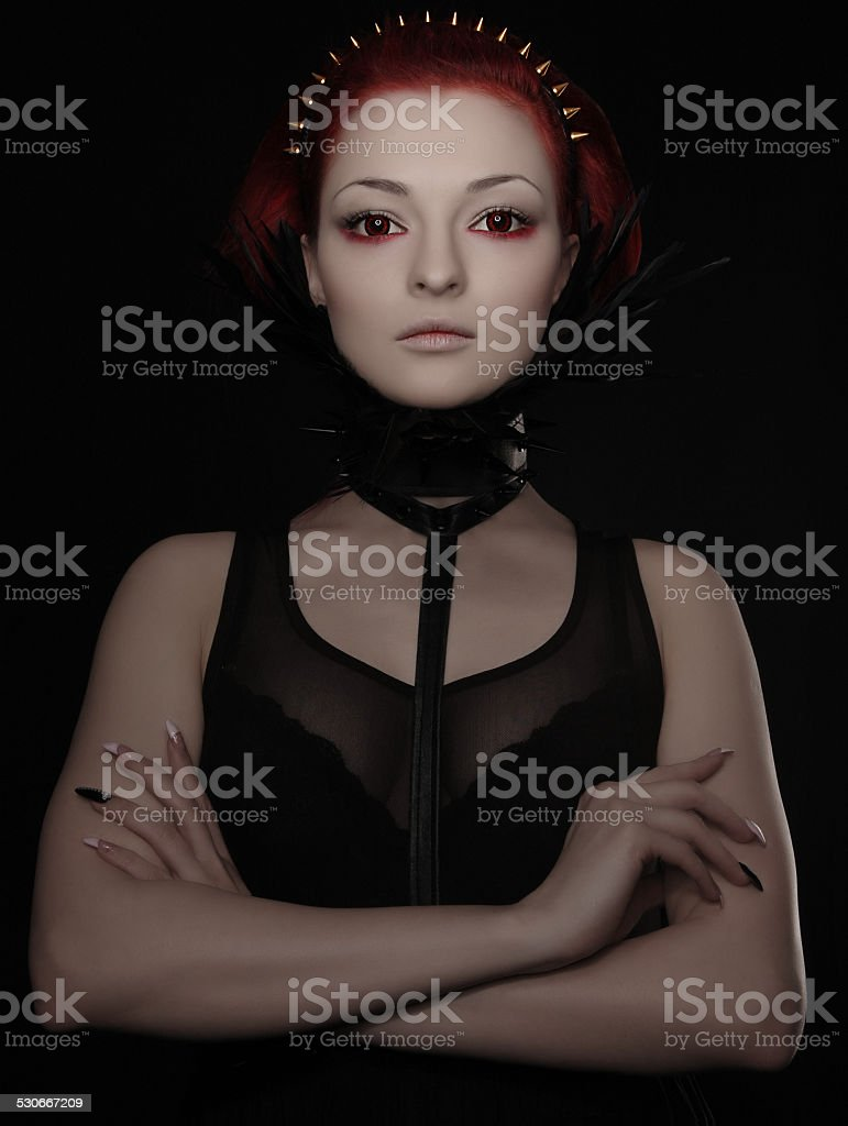 Beautiful woman with red hair and white skin stock photo