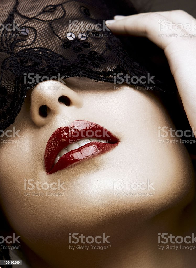 beautiful woman with red lips royalty-free stock photo