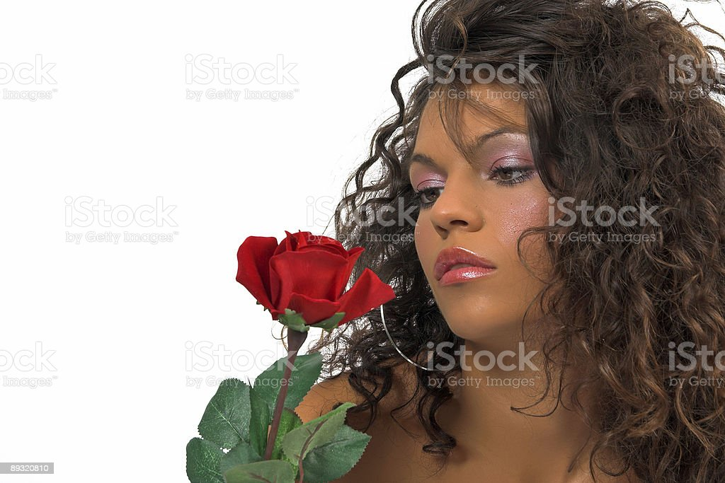 Beautiful woman with red rose royalty-free stock photo