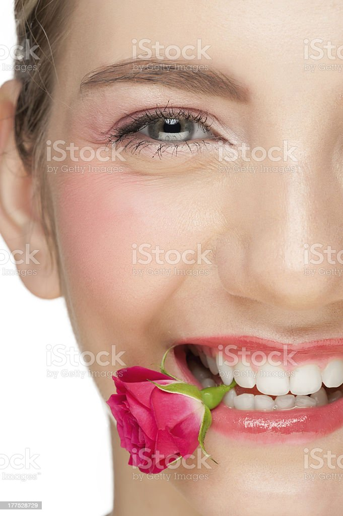 Beautiful woman with rose royalty-free stock photo