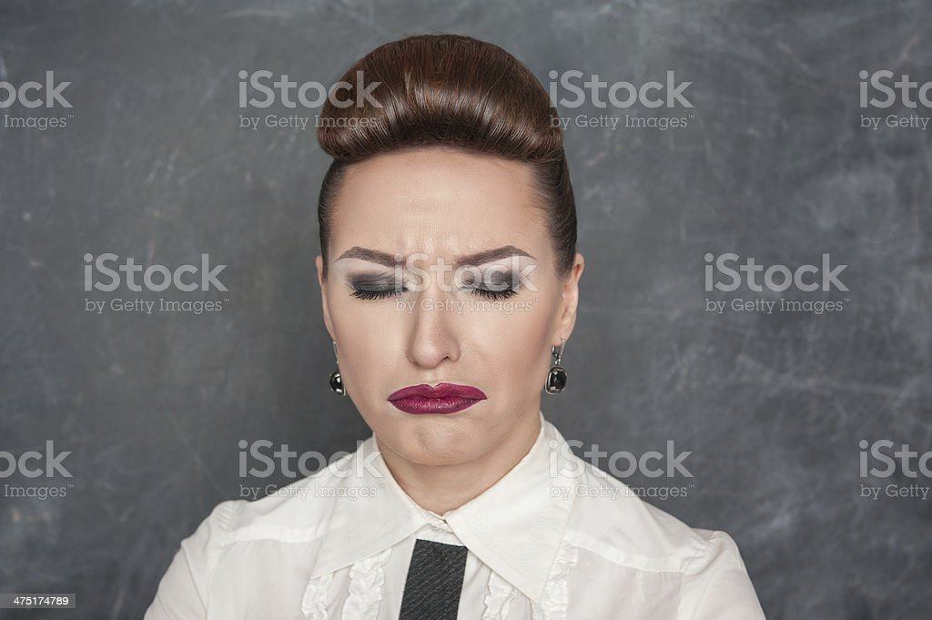 Beautiful woman with sad expression royalty-free stock photo