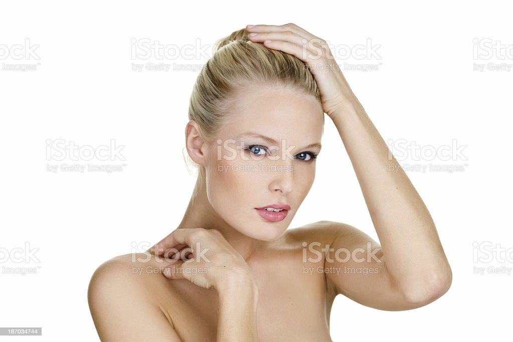 Beautiful woman with serious expression royalty-free stock photo