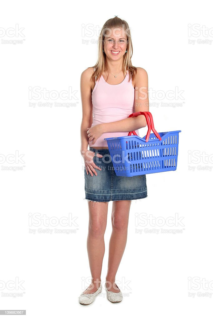 Beautiful woman with shopping basket stock photo