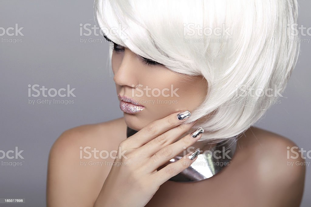 Beautiful Woman with Short Hair. High quality image. Fashion Bea royalty-free stock photo