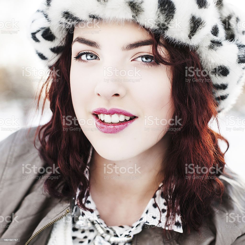 Beautiful woman with spotted hat royalty-free stock photo