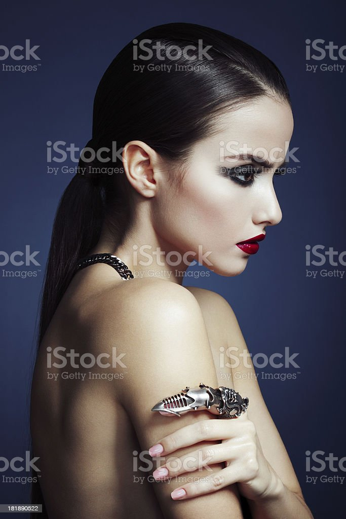 Beautiful woman with statement ring royalty-free stock photo