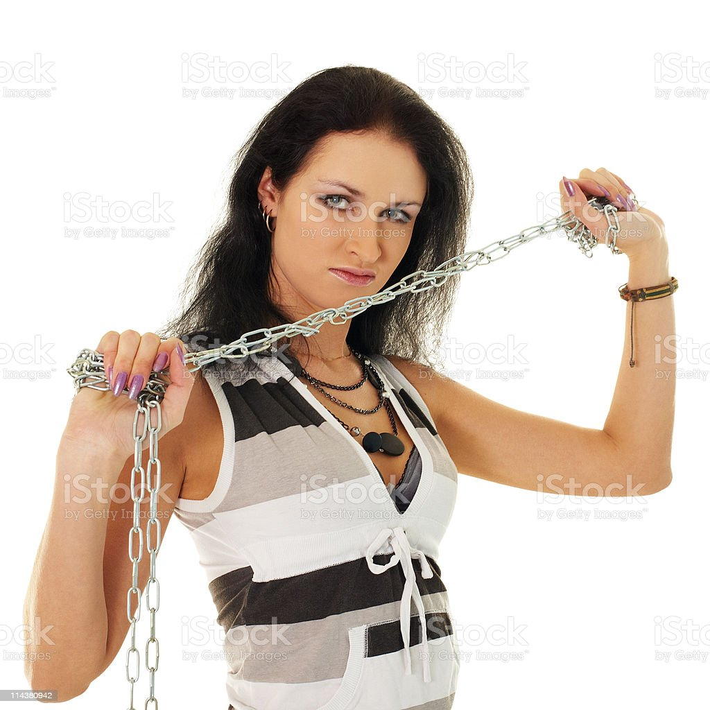 Beautiful woman with steel shackles stock photo