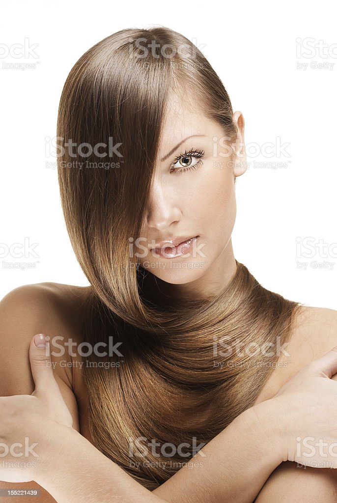 beautiful woman with straight long  hair royalty-free stock photo