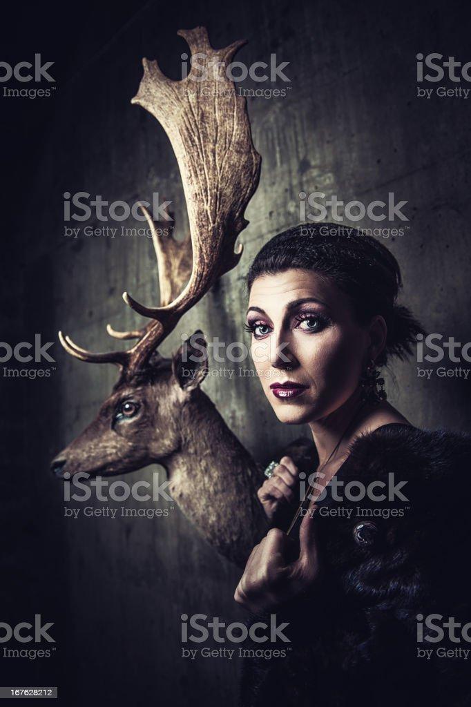 Beautiful woman with stuffed animals stock photo
