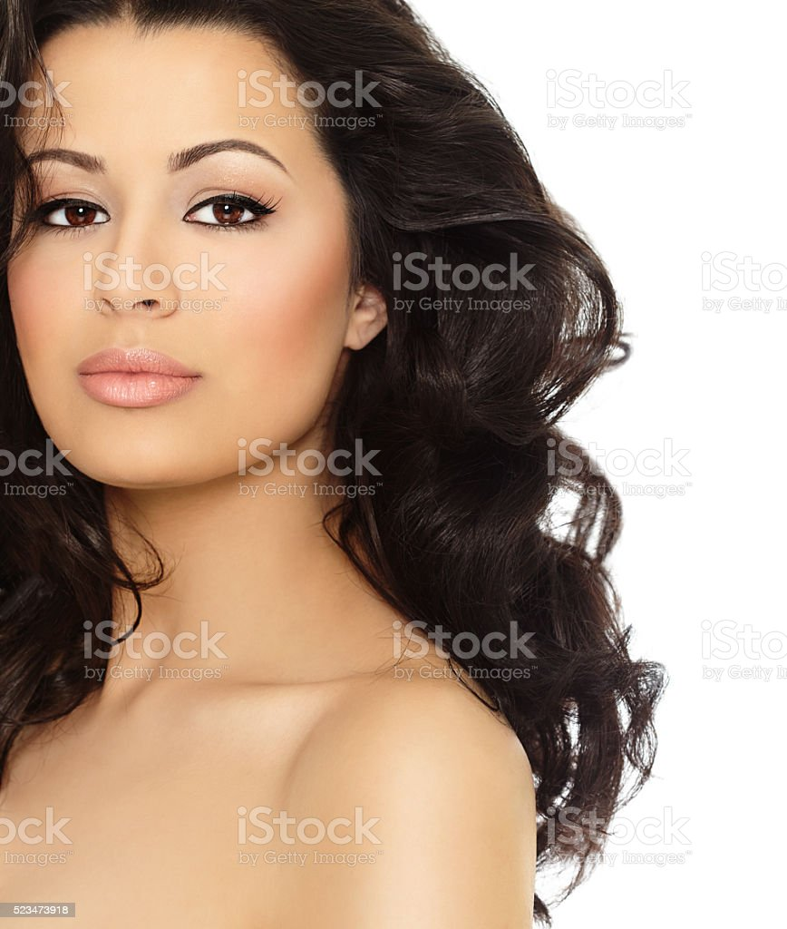Beautiful Woman With Styled Dark Hair stock photo