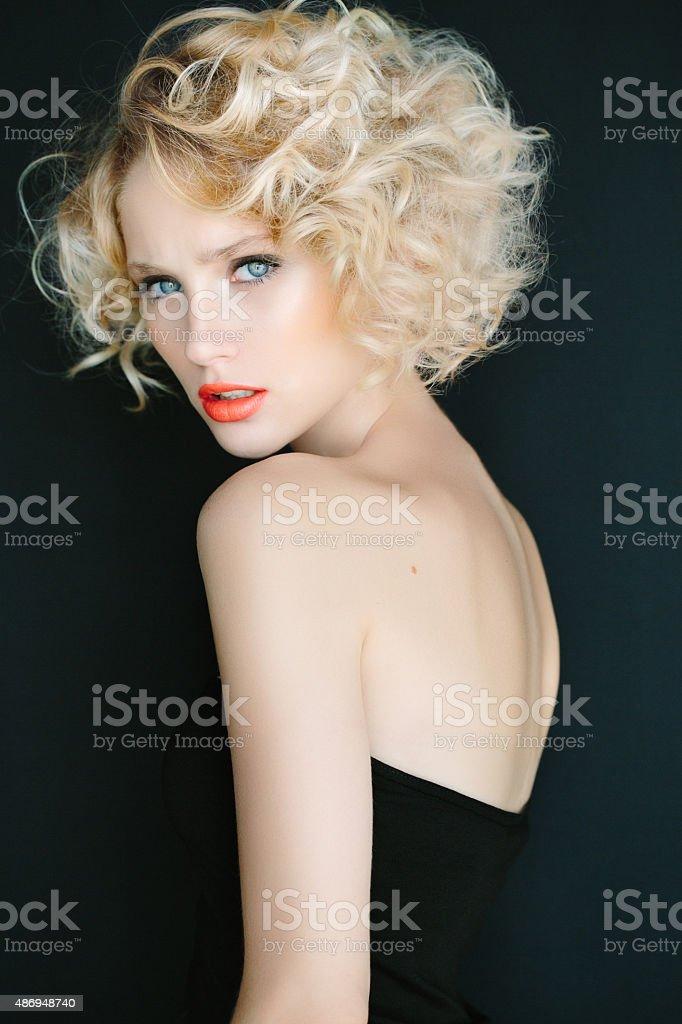 Beautiful woman with stylish hairstyle stock photo