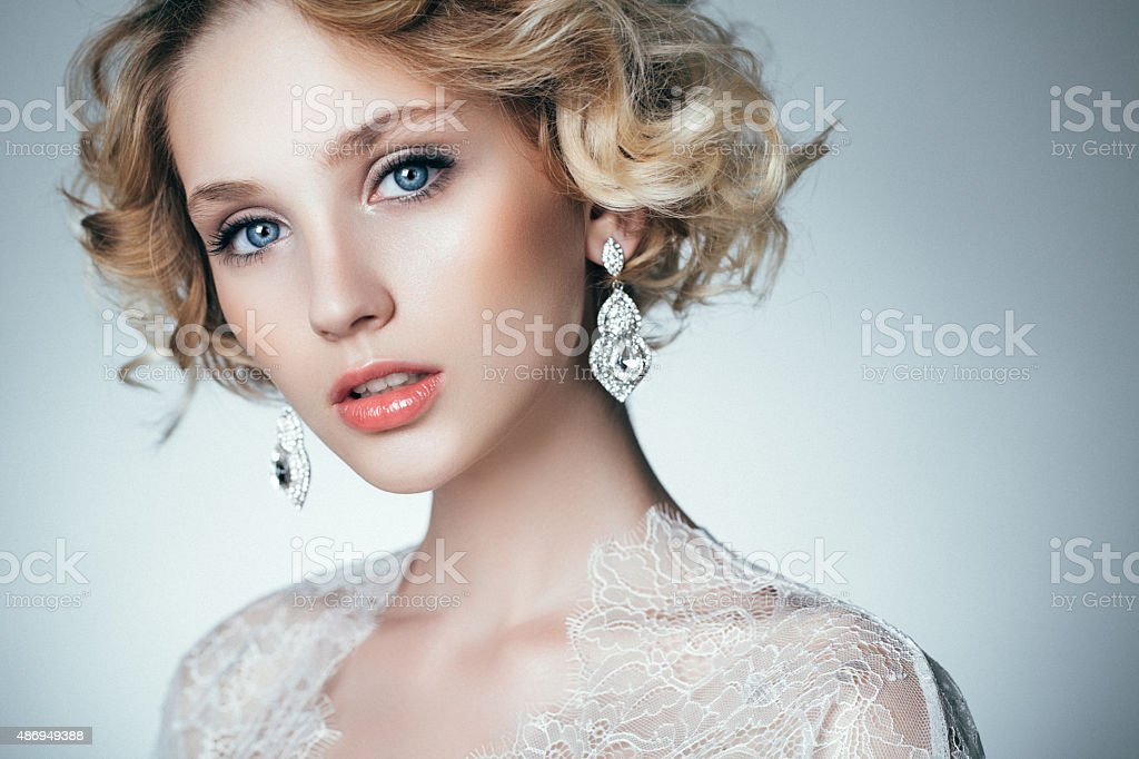 Beautiful woman with stylish hairstyle stock photo