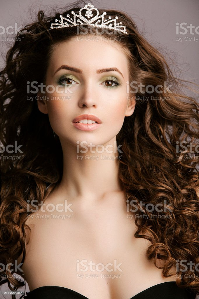 Beautiful woman with tiara stock photo
