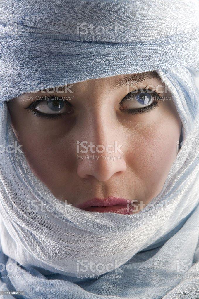 beautiful woman with tuareg royalty-free stock photo