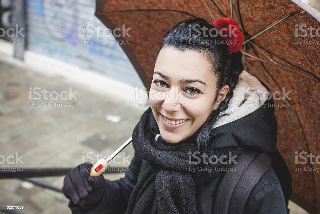 Beautiful woman with umbrella royalty-free stock photo