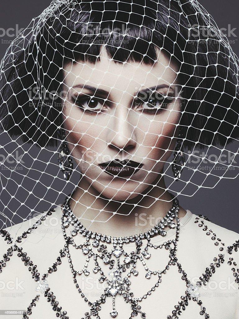 Beautiful woman with veil stock photo