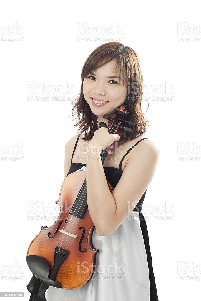 Beautiful woman with violin stock photo