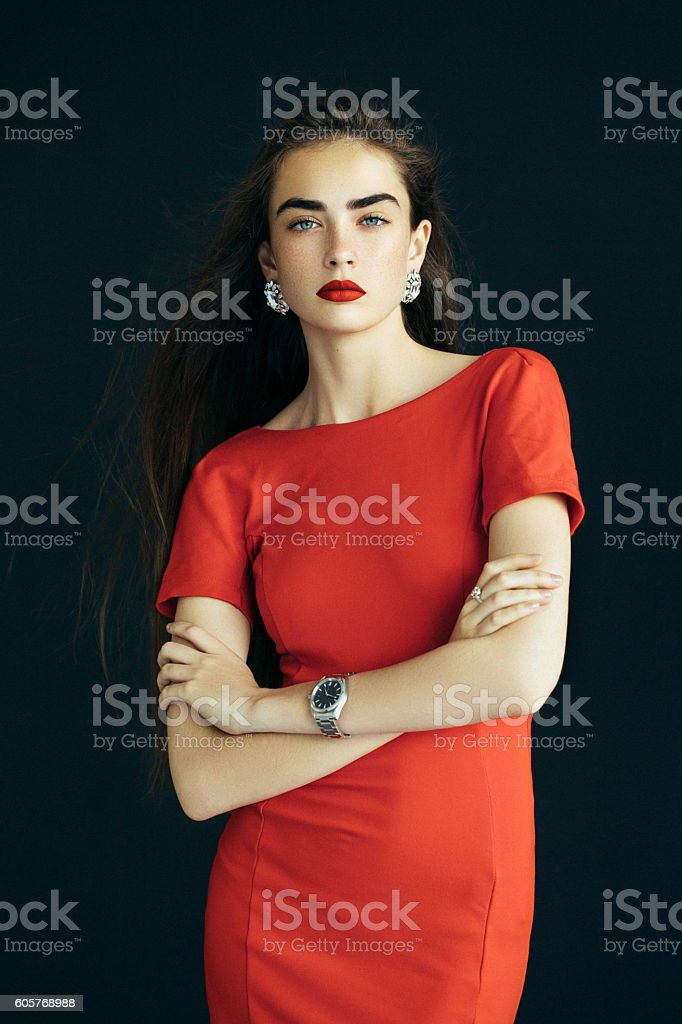 Beautiful woman with watches stock photo