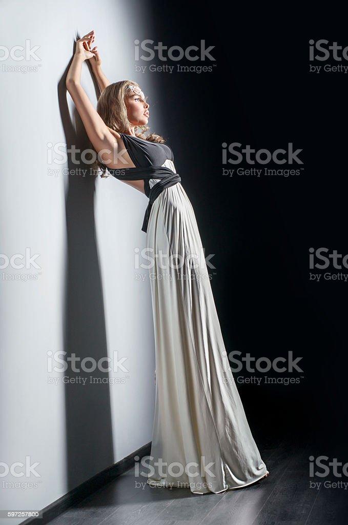 Beautiful woman with white dress stock photo