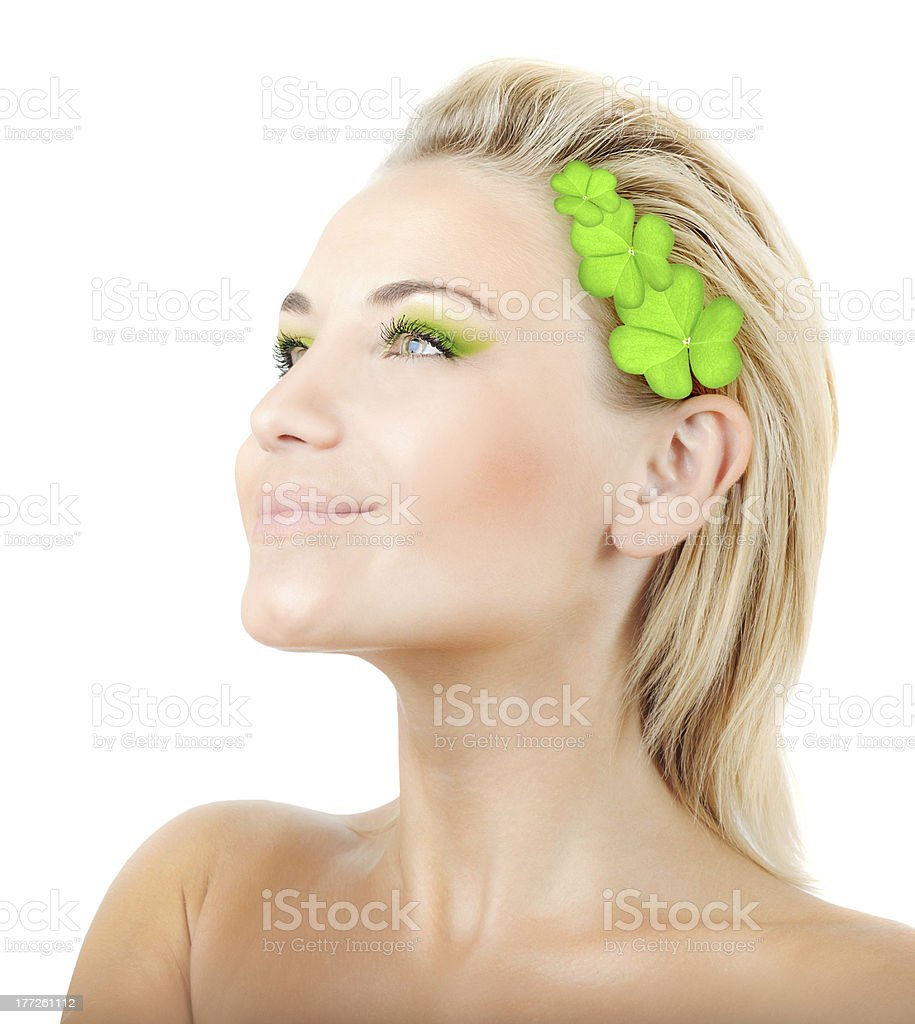 Beautiful woman with wreath of clover royalty-free stock photo