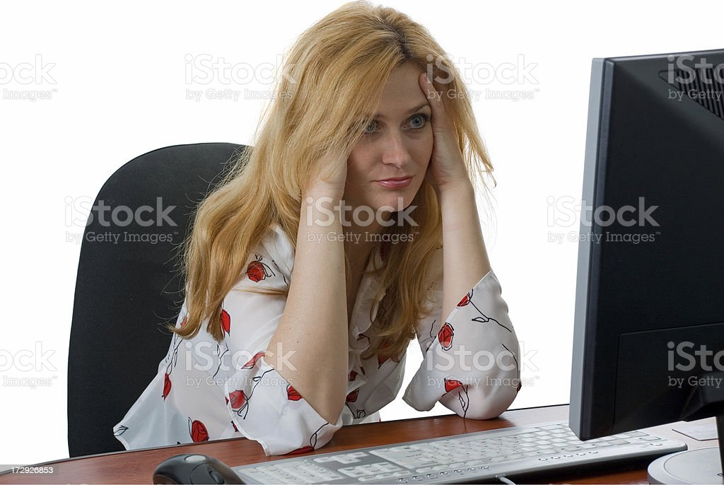 Beautiful woman worked with computer and got tired royalty-free stock photo
