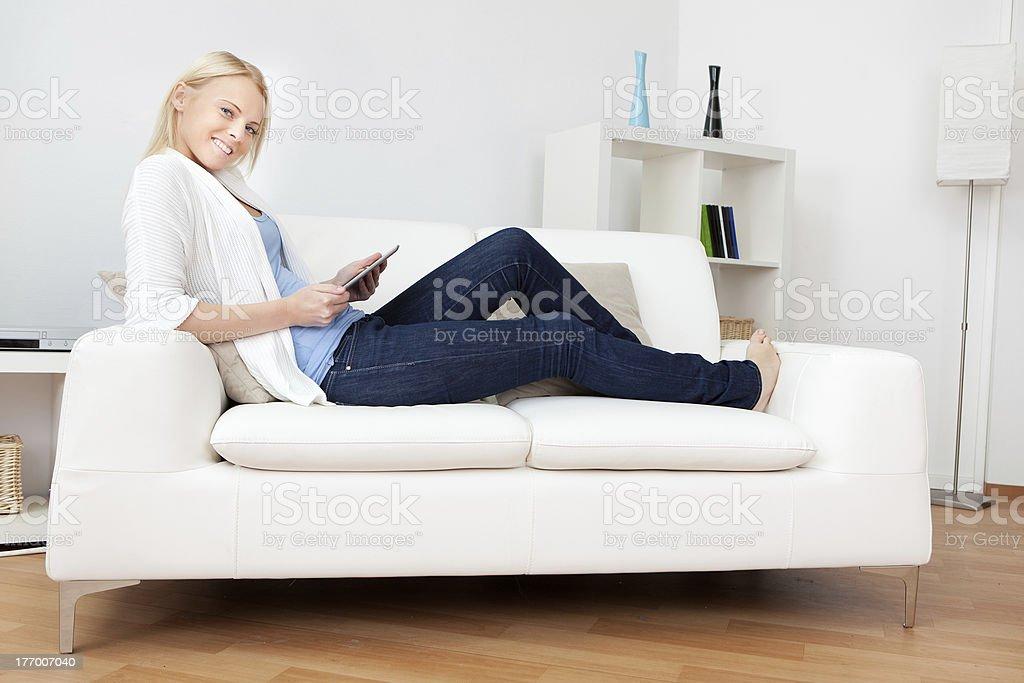 Beautiful woman working on computer royalty-free stock photo
