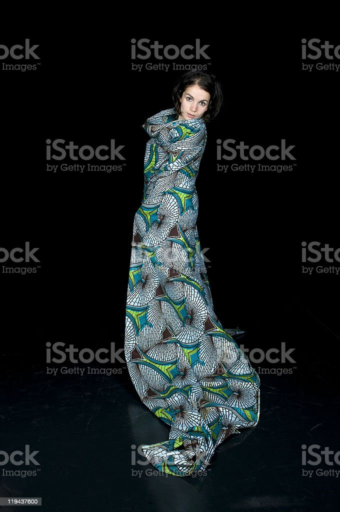 Beautiful Woman Wrapped In African Clothes royalty-free stock photo