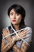 beautiful woman wrapped net