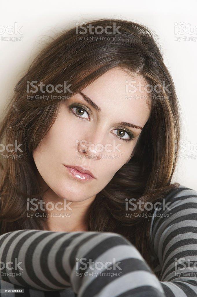 Beautiful Woman's Captivating Gaze royalty-free stock photo