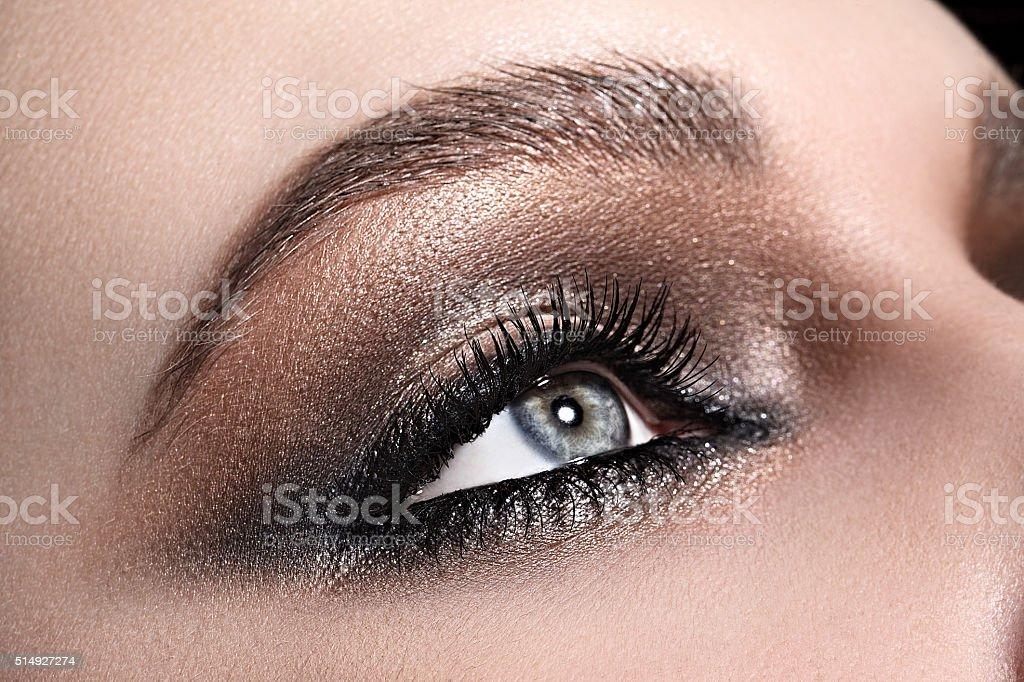 beautiful woman's eye close up macro stock photo