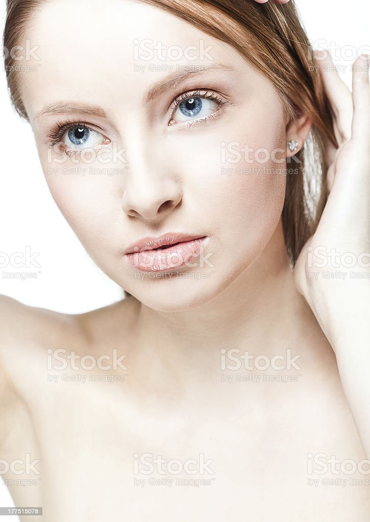 Beautiful woman's face with clean skin royalty-free stock photo