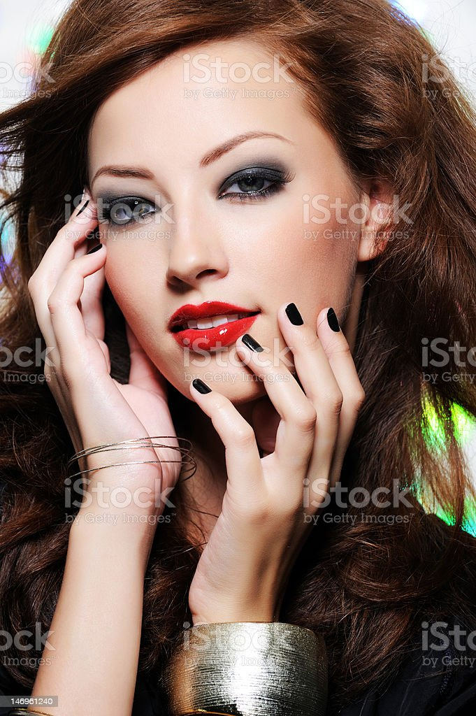 Beautiful woman's face with fashion make-up royalty-free stock photo