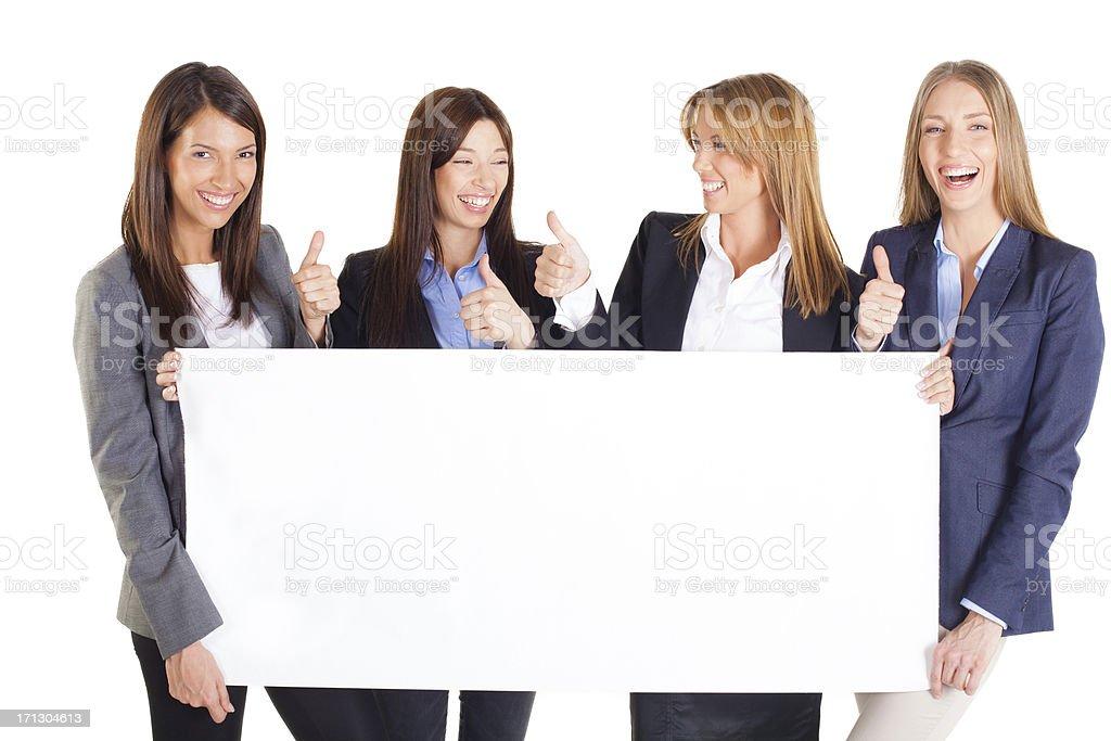 Beautiful Women holding a blank white board royalty-free stock photo