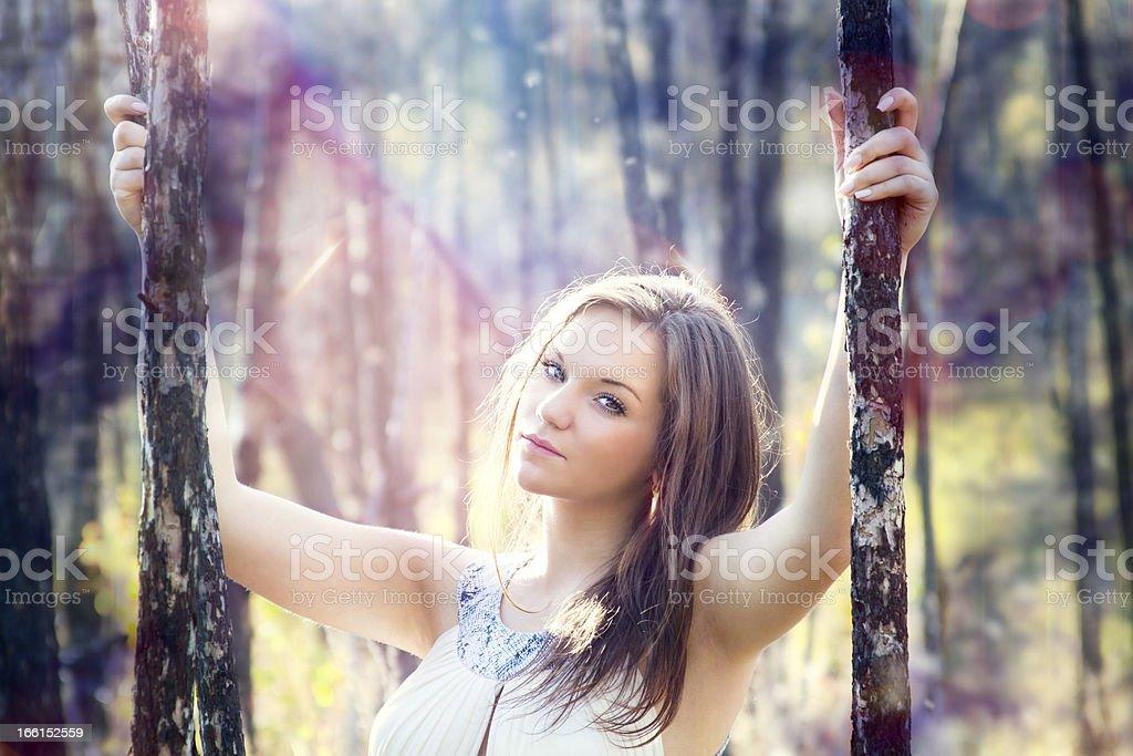 Beautiful women in autumn forest stock photo