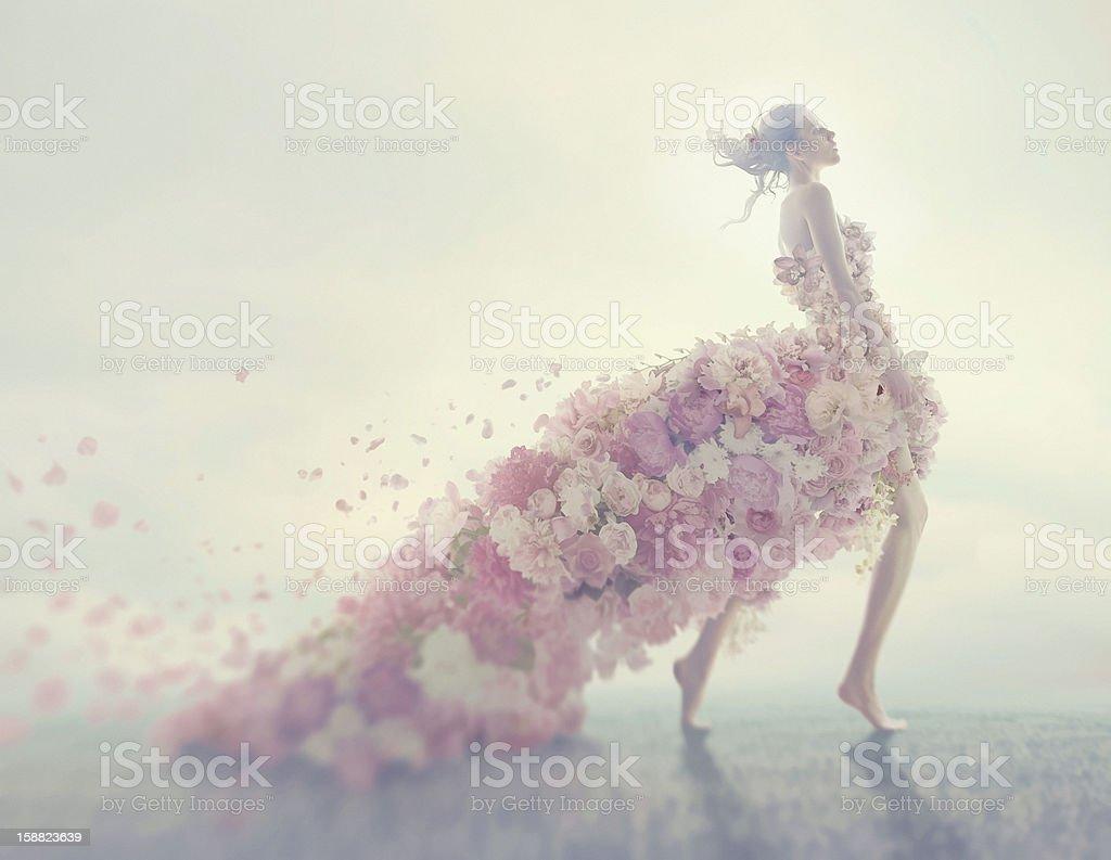 beautiful women in flower dress royalty-free stock photo