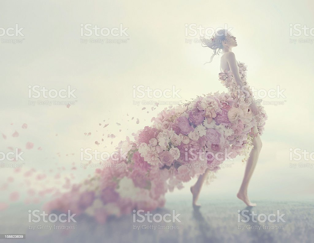 beautiful women in flower dress stock photo