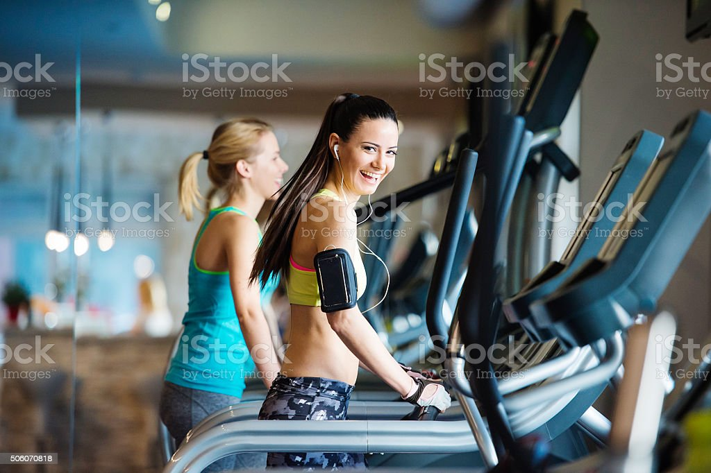 Beautiful women in gym stock photo