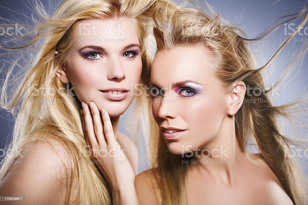 beautiful women looking at camera royalty-free stock photo
