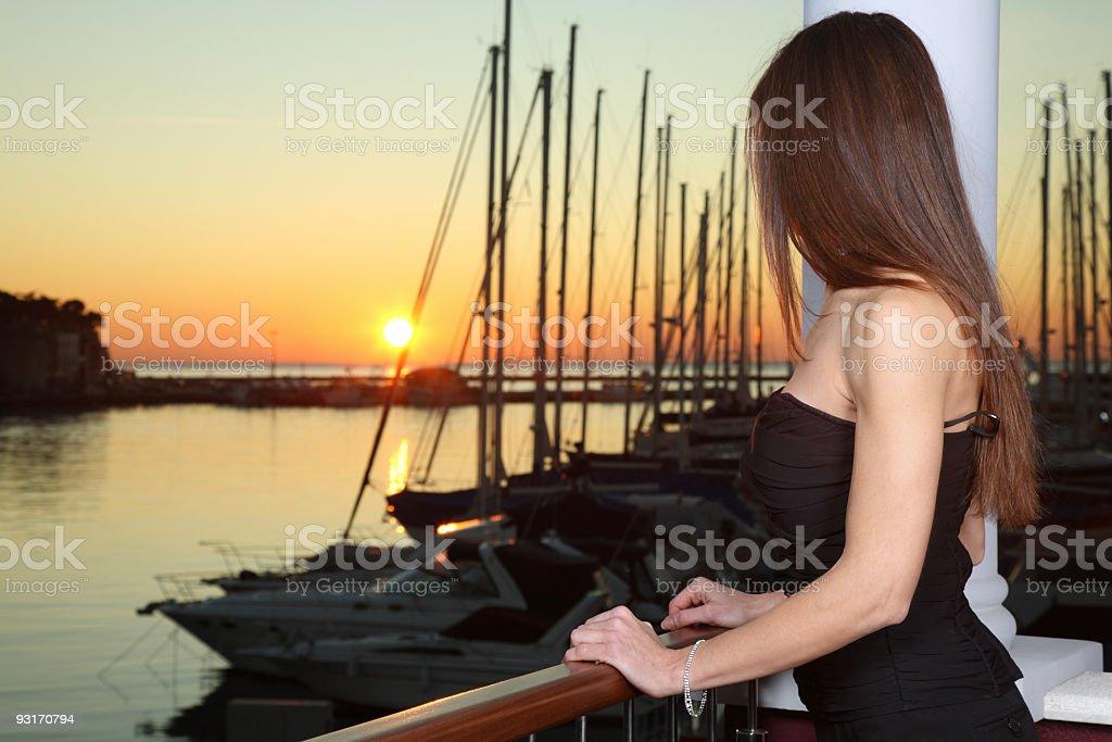 Beautiful women looking sunset royalty-free stock photo