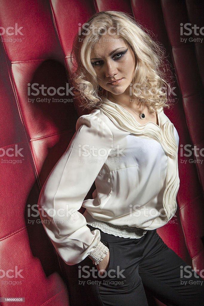 beautiful women on leather background royalty-free stock photo