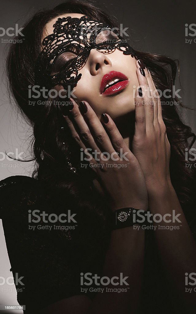 Beautiful women with mask stock photo