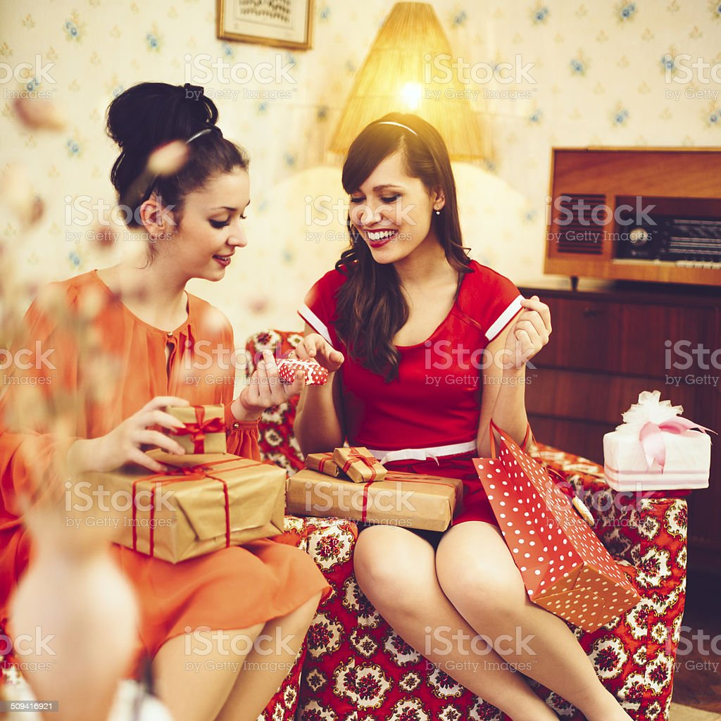 Beautiful women with presents stock photo