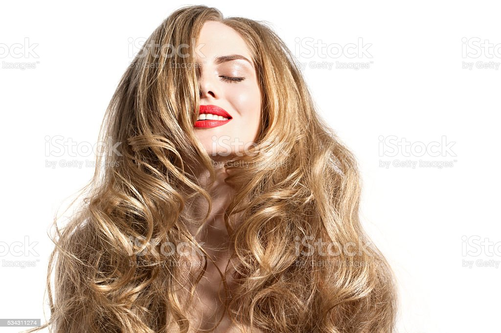 beautiful women with wonderful long hair and red lips stock photo